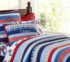 For my boys bunk beds - Patchwork Stripes Quilted Bedding | Pottery Barn Kids