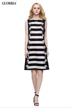 Women Print Strip O-Neck Sleeveless Dress Summer Casual Fashion Knee-Length Dresses