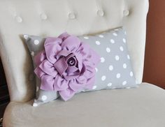 Decorative Lumbar Pillow Lilac Dahlia on Gray and White Polka Dot Lumbar Pillow 9 x 16 on Etsy, $33.00