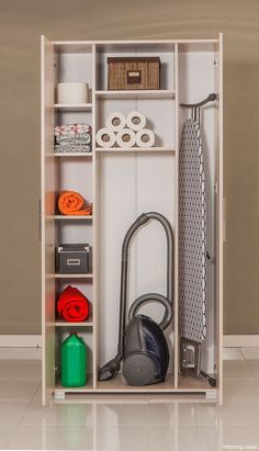 Utility room or small laundry room closet with space for storing laundry soap, broom etc Small Laundry Rooms, Laundry Room Storage, Laundry Room Design, Kitchen Storage, Storage Spaces, Storage Ideas, Basement Laundry, Broom Storage, Laundry Cupboard