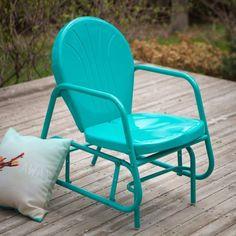 Outdoor Glider Vintage Retro Metal Chair Blue Porch Patio Deck Back Yard Garden | eBay