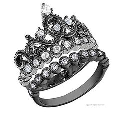Sterling Silver Crown Ring / Princess Ring and Band Set (Black Rhodium Plated)
