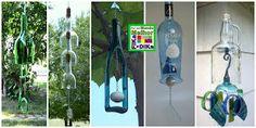 Fika a Dika - Por um Mundo Melhor: Garrafas de Vidro Reciclagem Glass Bottles, Wind Chimes, Arts And Crafts, Outdoor Decor, Projects, Home Decor, Art Ideas, Glass Ornaments, Family Recipes