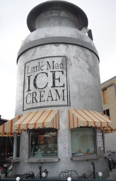 Little Man Ice Cream - one of the fun landmarks of the Highlands area just west of Denver& downtown Bar, Photos Originales, Unusual Buildings, Ice Cream Parlor, Milk Cans, Roadside Attractions, Shop Around, Shop Fronts, Shops