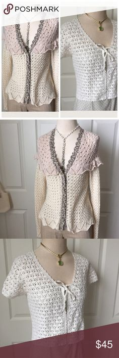 """BKE Crochet Sweater ▪️ LONG SLEEVE SWEATER: XUC: slight bell sleeves; crochet see thru; ruffled chest & back; multi tone; deep v-neck; 4 crocheted front buttons; approx 23"""" long; bust approx 30"""" relaxed & buttoned shut; has stretch to it & can be worn unbuttoned, so bust measurements are just approx. BKE Sweaters"""