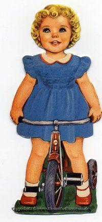 ANN Puppenkind mit blonden Locken Anziehpuppe fertig ausgestanzt Reprint von 1920 Paperdoll
