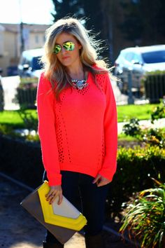 She Said He Said in a Deb Shops #neon sweater