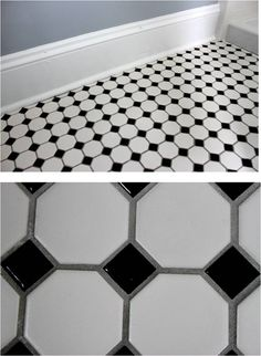 vintage style floor for our bathroom since our house was built in blackwhite hexagon tile with gray grout to avoid scrubbing all that white grout
