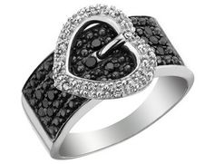 White and Black Diamond Heart Buckle Ring