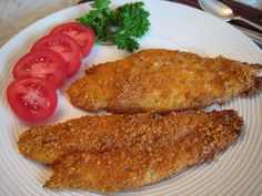 OVEN FRIED FISH I hate standing over a pan of hot, popping grease to do traditional deep frying. But I do love me some fried fish. It's a Southern tradition, fish fries. Wish my husband were as fond of fried fis. Fish Recipes, Seafood Recipes, Low Carb Recipes, Cooking Recipes, Atkins Recipes, Paleo Recipes, Savoury Recipes, Tilapia Recipes, Seafood