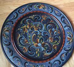 Rosemaling Pattern, Norwegian Rosemaling, Folklore, Plates, Traditional, Tableware, Painting, Art, Wood Paintings