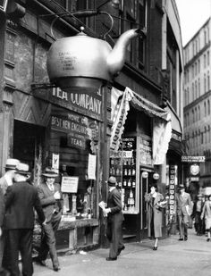 Boston's Oriental Tea Company Shop 1934. The teapot was part of a publicity stunt in 1875 in which people had the opportunity to guess how much it would hold.