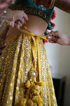 Indian Bride in Yellow lehenga Indian Bridal Outfits, Indian Designer Outfits, Indian Dresses, Anarkali, Churidar, Sharara, Yellow Lehenga, Lehenga Blouse, Runway