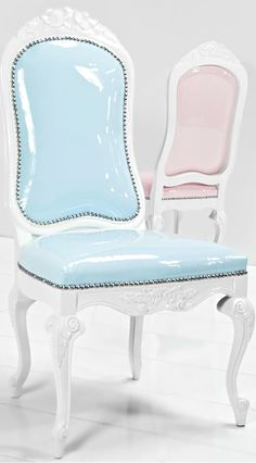 VICTORIAN STYLE PASTEL PATENT LEATHER CHAIRS