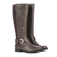 Brown Stretch Boots with Buckle.