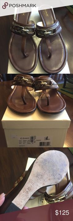 Coach brown leather sandals I have worn them twice but they are still in beautiful condition.  The soles show that they have been worn but the shoe and heels have no scuffs or scratches, other than looking at the soles they look brand new!  Beautiful to match with any summer outfit! Coach Shoes Sandals