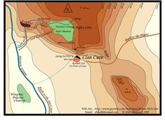 """6C. """"Map of the Clan Cave local area from the book 'Clan of the Cave Bear' by Jean Auel."""""""