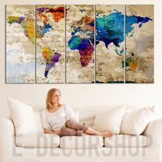 Retro WORLD MAP Canvas Print Art Drawing on Old Wall - Watercolor World Map 5 Piece Canvas Art Print - Large Wall Art Colorful World Map