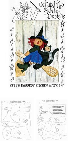 witch doll pattern Halloween Sewing, Halloween Quilts, Halloween Doll, Halloween Themes, Fall Halloween, Halloween Crafts, Doll Crafts, Diy Doll, Primitive Doll Patterns
