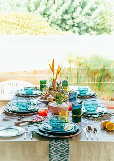 Lively green table with color pops!