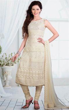 Adorable Buttercream Color Ready Made Net Salwar Kameez