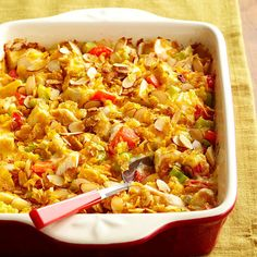 This hearty chicken casserole is packed with veggies, stuffed with 29 grams of protein per serving, and topped with an almond-cornflake crust : http://www.bhg.com/recipes/party/party-ideas/heart-healthy-potluck-recipes/?socsrc=bhgpin110114hotchickensaladcasserole&page=15