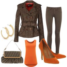 """Orange & Brown"" by amanda-mabes on Polyvore"