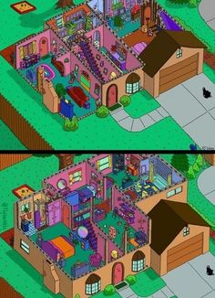 The Simpsons' House Layout: here we can see the whole of The Simpson's house, upstairs and downstairs. It looks nice and bright and if you were walking down the street you would notice it as The Simpson's house. It's pretty much accurate! Minecraft Designs, Minecraft Houses, The Simpsons, Simpsons Quotes, Simpsons Characters, Sims 4 House Plans, Sims 4 House Design, Sims Building, Cartoons