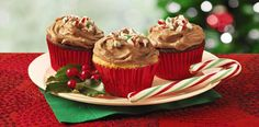 Peppermint Mocha Frosted Candy Cane Cupcakes – holiday dessert recipe from ALDI.