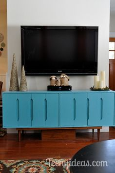 mid century modern buffet painted benjamin moore spa blue