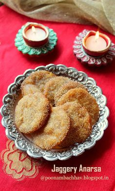 Anarsa a pastry-like snack is a traditional Maharashtrian delicacy. It is prepared from soaked rice powder, jaggery or sugar , ghee (cla. Diwali Food, Diwali Diy, Maharashtrian Recipes, Sweets Recipes, Desserts, Indian Sweets, Indian Snacks, Sweet Pastries, Special Recipes