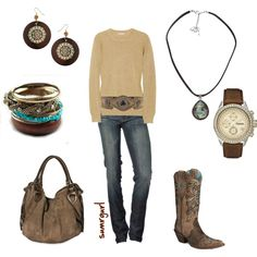 Good 'ol boys? Country music? This is the outfit:) Love the sweater/belt combo.