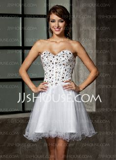 Homecoming Dresses - $135.99 - A-Line/Princess Sweetheart Short/Mini Satin Tulle Homecoming Dresses With Beading (022010776) http://jjshouse.com/A-Line-Princess-Sweetheart-Short-Mini-Satin-Tulle-Homecoming-Dresses-With-Beading-022010776-g10776