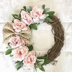 Pink Peony Grapevine Wreath With Lamb's Ear And A Burlap