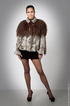 Верхняя одежда ручной работы. Ярмарка Мастеров - ручная работа. Купить Жакет из Каракуля с Ламой Фантазия. Handmade. Серый