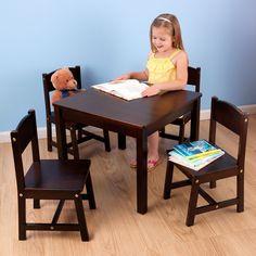 Kid Kraft Farmhouse Table & 4 Chairs Espresso - 21453