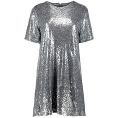 Boohoo Boutique Lacey Sequin T-Shirt Dress   Boohoo (255055 PYG) ❤ liked on Polyvore featuring dresses, sequin embellished dress, t shirt dress, boohoo dresses, tee shirt dress and t-shirt dresses