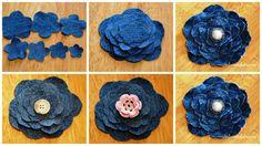 flores em tecido com PAP (DIY) e molde