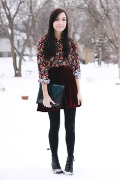 floral top with velvet skirt