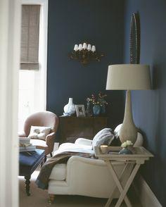 Deep, Dark Blue Walls Envelop A Room, Creating A Romantic Mood, Especially  When