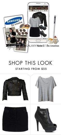 """""""Create a Downtown Muse look for a chance to win a Samsung GALAXY Note II!"""" by dsnovianti ❤ liked on Polyvore featuring Samsung, R13, T By Alexander Wang, JustFab and coffe selena gomez samsung galaxy noteii fashion polyvore ice love becreative"""
