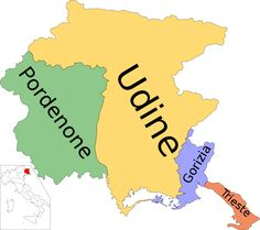 Mappa della regione con le sue province.