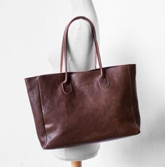 Leather Shopper in Chestnut Brown by morelle