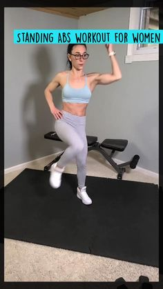 Gym Workout Videos, Gym Workout For Beginners, Fitness Workout For Women, Standing Ab Exercises, Standing Abs Workout, Workout Challenge, Cardio, Sport, Excercise