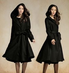 hooded wool coat in black / long trenchcoat jacket / cashmere jacket cape / black blazer / wool blazer / long coat / flared coat