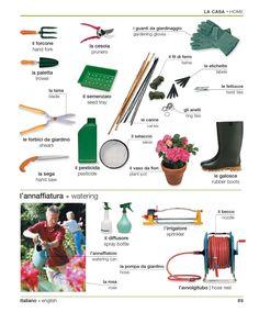Learning italian language italian english visual for Gardening tools dictionary