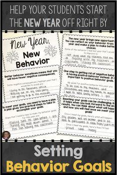 Behavior Goal Setting Activities For New Year's Counseling And SEL Lessons Behavior Goals, Classroom Behavior Management, Positive Behavior, Positive Reinforcement, Behavior Charts, Growth Mindset Activities, Social Skills Activities, Counseling Activities, School Counseling
