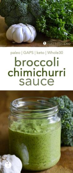 This easy and delicious paleo Broccoli Chimichurri Sauce is a tasty twist on the favorite sauce. It goes great on tacos, steak, or even as a veggie dip or salad dressing! Best Gluten Free Recipes, Paleo Recipes Easy, Primal Recipes, Paleo Meals, Whole30 Recipes, Gf Recipes, Sauce Recipes, Vegan Gluten Free, Real Food Recipes