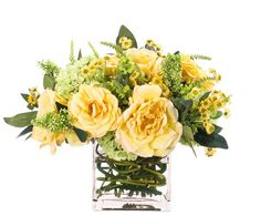 Natural Decorations, Inc. - Rose Hydrangea Yellow Green Glass Cube