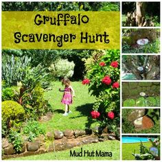 Gruffalo Scavenger Hunt (from Mud Hut Mama) Kids Party Games, Birthday Party Games, Party Activities, Book Activities, First Birthday Parties, Gruffalo Eyfs, Gruffalo Activities, Gruffalo Party, Gruffalo Trail